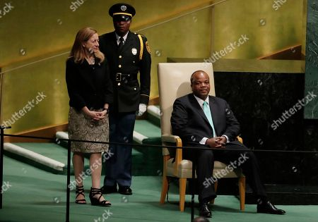 King Mswati III of Eswatini waits to address the 73rd session of the United Nations General Assembly, at the United Nations headquarters