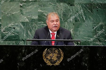 Nauru President Baron Divavesi Waqa addresses the 73rd session of the United Nations General Assembly, at the United Nations headquarters