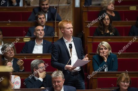 La France insoumise deputy, Adrien Quatennens, during the weekly session of the questions to the government at French parliament