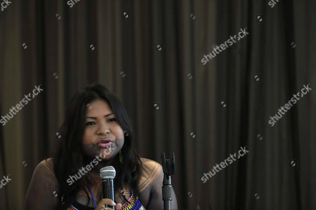 Sara Omi, the president of the Embera General Congress of Alto Bayano (Panama) and only woman to occupy a high position in the National Council for the Development of Indigenous Peoples, participates in the forum 'Challenges and opportunities for leadership and political participation of indigenous women', in Panama City, Panama, 26 September 2018. Numerous indigenous representatives of Latin America said that the work and actions that women do in traditional villages should be more recognized and made visible, in order to open spaces for a change in social leaderships.