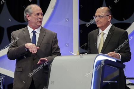 Presidential candidates of the Democratic Labor Party (PDT) Ciro Gomes (L) and Party of the Brazilian Social Democracy (PSDB) Geraldo Alckmin (R) during a televised debate with candidates in presidential elections in Sao Paulo, Brazil, 26 September 2018. Presidential elections in Brazil are scheduled for 07 October 2018.
