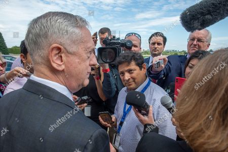 US Press meet with US Secretary of Defense James Mattis before his meeting with Romania Minister of Defense Mihai Fifor at the Pentagon on September 26, 2018