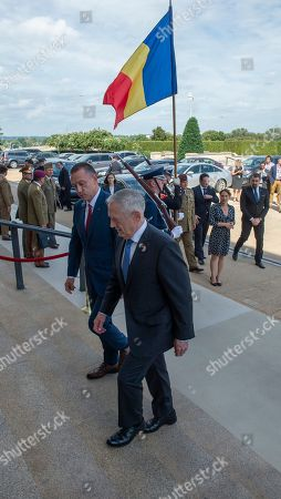 US Secretary of Defense James Mattis and Romania Minister of Defense Mihai Fifor meet at the Pentagon on September 26, 2018