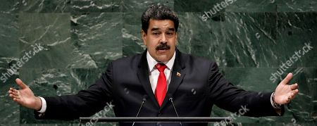 Stock Picture of President of Venezuela Nicolas Maduro Moros speaks during the General Debate of the General Assembly of the United Nations at United Nations Headquarters in New York, New York, USA, 26 September 2018. The General Debate of the 73rd session will run from 25 September 2018 to 01 October 2018.