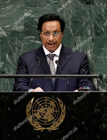 Prime Minister of Kuwait Sheikh Jaber Al-Mubarak Al-Hamad Al-Sabah speaks during the General Debate of the General Assembly of the United Nations at United Nations Headquarters in New York, New York, USA, 26 September 2018. The General Debate of the 73rd session will run from 25 September 2018 to 01 October 2018.