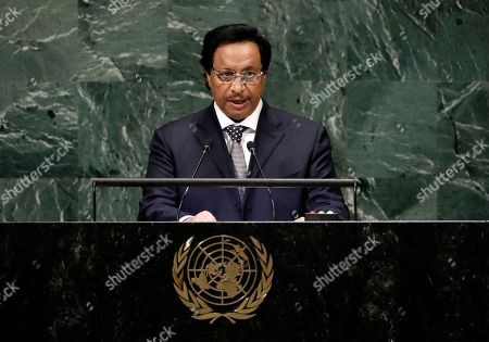 Stock Image of Prime Minister of Kuwait Sheikh Jaber Al-Mubarak Al-Hamad Al-Sabah speaks during the General Debate of the General Assembly of the United Nations at United Nations Headquarters in New York, New York, USA, 26 September 2018. The General Debate of the 73rd session will run from 25 September 2018 to 01 October 2018.