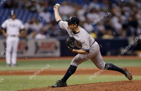 New York Yankees relief pitcher David Robertson during the eighth inning of a baseball game against the Tampa Bay Rays, in St. Petersburg, Fla