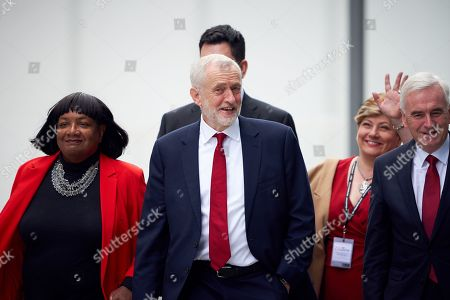 Jeremy Corbyn arrives with members of the shadow cabinet Diane Abbott, Emily Thornberry, Richard Burgon and John McDonnell for the Leader's Speech at the Labour Party Conference