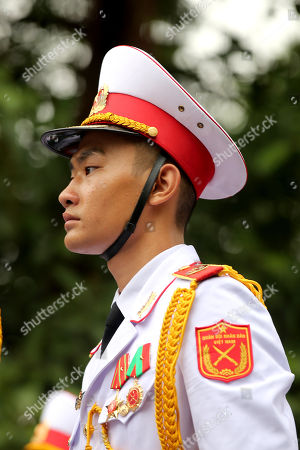 A soldier stands guard during the national funeral of Vietnam's late President Tran Dai Quang at the National Funeral House in Hanoi, Vietnam, 27 September 2018. President Tran Dai Quang died on 21 September 2018 at the age of 61.