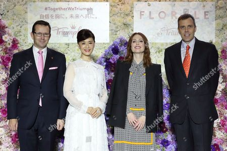 (L-R) Vincent Nelias of Triumph Japan president and CEO, Mao Daichi, Julianne Moore, Oliver Spiesshofer of Triumph Japan Executive chairman