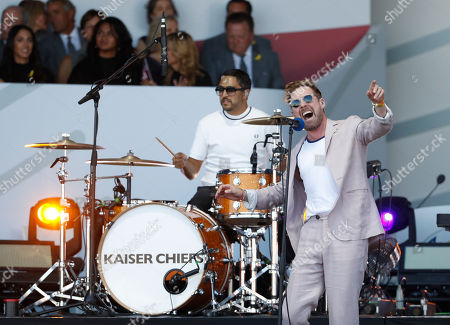 Stock Photo of Ricky Wilson, the lead singer of the band the Kaiser Chiefs, performs during the opening ceremony of the Ryder Cup at Le Golf National in Saint-Quentin-en-Yvelines, outside Paris, France, . The 42nd Ryder Cup will be held in France from Sept. 28-30, 2018 at Le Golf National