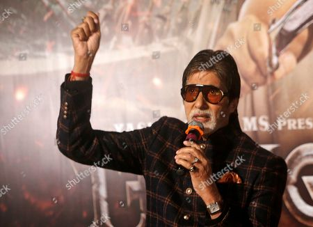 """Bollywood actor Amitabh Bachchan addresses the media during the trailer launch of upcoming movie """"Thugs of Hindostan"""" in Mumbai, India"""