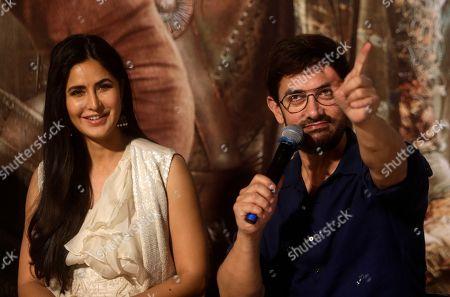 "Aamir Khan, Katrina Kaif. Bollywood actors Katrina Kaif, left and Aamir Khan interact with media during the trailer launch of upcoming movie ""Thugs of Hindostan"" in Mumbai, India"