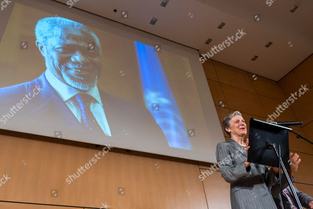 Nane Annan, widow of former UN Secretary-General Kofi Annan, speaks, during a celebration of Kofi Annan's Life, in the Assembly Hall at the European headquarters of the United Nations (UN) in Geneva, Switzerland, 27 September 2018. Kofi Annan the seventh Secretary General of the United Nations passed away on 18 August 2018 at age 80.