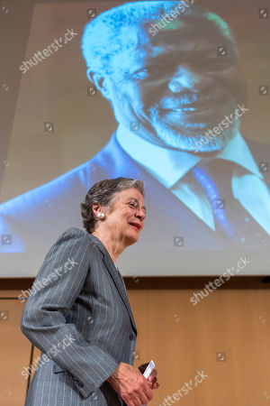 Nane Annan, widow of former UN Secretary-General Kofi Annan, arrives the podium after her speech, during a celebration of Kofi Annan's Life, in the Assembly Hall at the European headquarters of the United Nations (UN) in Geneva, Switzerland, 27 September 2018. Kofi Annan the seventh Secretary General of the United Nations passed away on 18 August 2018 at age 80.