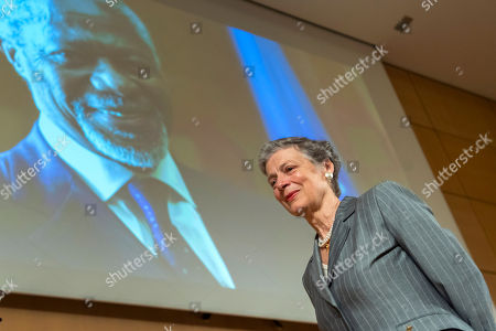 Nane Annan, widow of former UN Secretary-General Kofi Annan, leaves the podium after her speech, during a celebration of Kofi Annan's Life, in the Assembly Hall at the European headquarters of the United Nations (UN) in Geneva, Switzerland, 27 September 2018. Kofi Annan the seventh Secretary General of the United Nations passed away on 18 August 2018 at age 80.