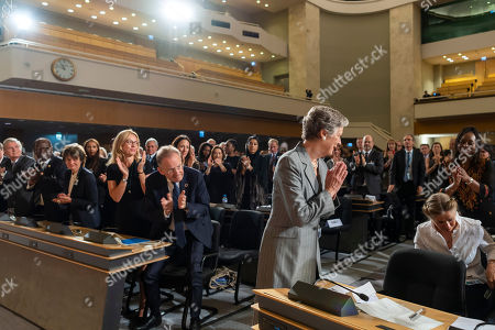 Nane Annan, widow of former UN Secretary-General Kofi Annan, thanks the crowd during a round of applause after her speech, during a celebration of Kofi Annan's Life, in the Assembly Hall at the European headquarters of the United Nations (UN) in Geneva, Switzerland, 27 September 2018. Kofi Annan the seventh Secretary General of the United Nations passed away on 18 August 2018 at age 80.