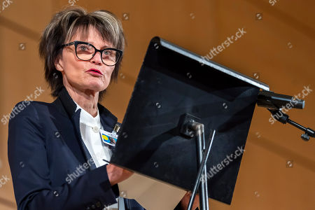 Micheline Calmy-Rey, former President of the Swiss Confederation, speaks, during a celebration of Kofi Annan's Life, in the Assembly Hall at the European headquarters of the United Nations (UN) in Geneva, Switzerland, 27 September 2018. Kofi Annan the seventh Secretary General of the United Nations passed away on 18 August 2018 at age 80.