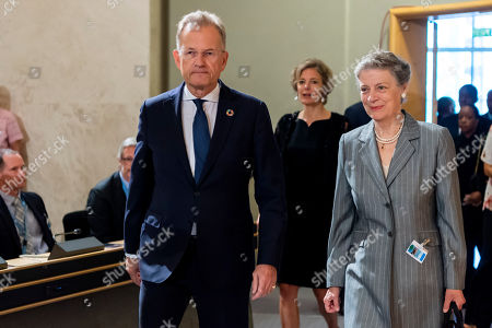 Michael Moeller (L), Director-General United Nations Geneva, and Nane Annan (R), widow of former UN Secretary-General Kofi Annan, arrive for the celebration of Kofi Annan's Life, in the Assembly Hall at the European headquarters of the United Nations (UN) in Geneva, Switzerland, 27 September 2018. Kofi Annan the seventh Secretary General of the United Nations passed away on 18 August 2018 at age 80.