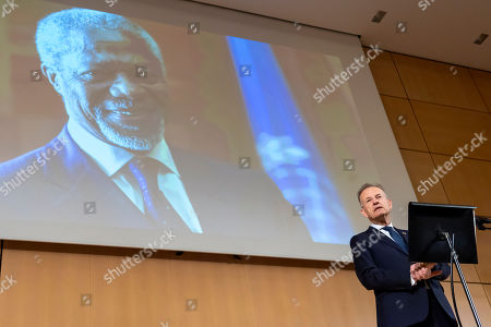 Stock Picture of Michael Moeller, Director-General United Nations Geneva, speaks, during a celebration of Kofi Annan's Life, in the Assembly Hall at the European headquarters of the United Nations (UN) in Geneva, Switzerland, 27 September 2018. Kofi Annan the seventh Secretary General of the United Nations passed away on 18 August 2018 at age 80.