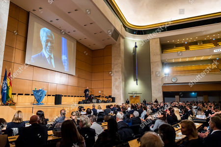 Stock Photo of A general view of Kofi Annan's Life celebration in the Assembly Hall at the European headquarters of the United Nations (UN) in Geneva, Switzerland, 27 September 2018. Kofi Annan the seventh Secretary General of the United Nations passed away on 18 August 2018 at age 80.