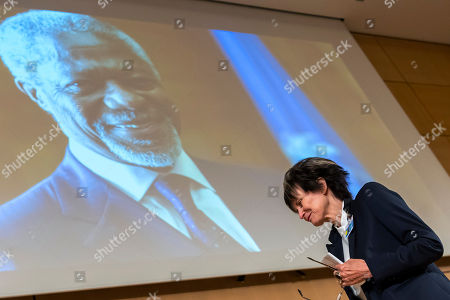 Stock Image of Micheline Calmy-Rey, former President of the Swiss Confederation, leaves the podium after her speech, during a celebration of Kofi Annan's Life, in the Assembly Hall at the European headquarters of the United Nations (UN) in Geneva, Switzerland, 27 September 2018. Kofi Annan the seventh Secretary General of the United Nations passed away on 18 August 2018 at age 80.