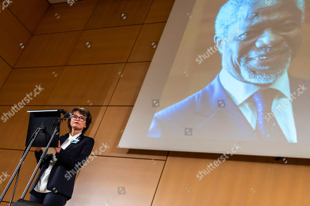Stock Photo of Micheline Calmy-Rey, former President of the Swiss Confederation, speaks during a celebration of Kofi Annan's Life, in the Assembly Hall at the European headquarters of the United Nations (UN) in Geneva, Switzerland, 27 September 2018. Kofi Annan the seventh Secretary General of the United Nations passed away on 18 August 2018 at age 80.