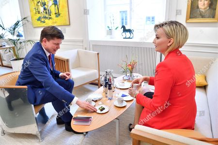 Stock Picture of Swedish Speaker of Parliament Andreas Norlen (L) meets with Swedish Christian Democrats party leader Ebba Busch Thor (R) at the Parliament in Stockholm, Sweden, 27 September 2018. All party leaders will meet with the Speaker of Parliament who will then decide who to nominate for Prime Minister. No party got enough votes in the 09 September elections to form a majority government. Sweden's prime minister Stefan Lofven lost a no-confidence vote in parliament on 25 September.