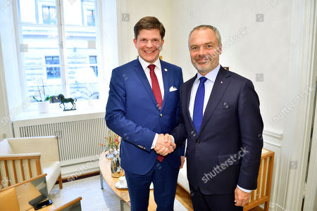 Swedish Speaker of Parliament Andreas Norlen (L) meets with Swedish Liberal Party leader Jan Bjorklund (R) at the Parliament in Stockholm, Sweden, 27 September 2018. All party leaders will meet with the Speaker of Parliament who will then decide who to nominate for Prime Minister. No party got enough votes in the 09 September elections to form a majority government. Sweden's prime minister Stefan Lofven lost a no-confidence vote in parliament on 25 September.