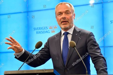 Stock Picture of Swedish Liberal Party leader Jan Bjorklund gives a news conference after meeting with the Speaker of Parliament in Stockholm, Sweden, Sweden, 27 September 2018. All party leaders will meet with the Speaker of Parliament who will then decide who to nominate for Prime Minister. No party got enough votes in the 09 September elections to form a majority government. Sweden's prime minister Stefan Lofven lost a no-confidence vote in parliament on 25 September.
