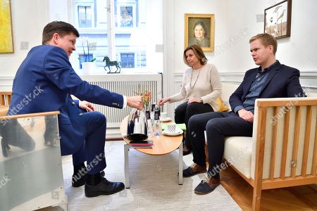 Swedish Speaker of Parliament Andreas Norlen (L) meets with Swedish Green Party spokespersons Isabella Lovin (C) and Gustav Fridolind in his room at the Parliament in Stockholm, Sweden, 27 September 2018. All party leaders will meet with the Speaker of Parliament who will then decide who to nominate for Prime Minister. No party got enough votes in the 09 September elections to form a majority government. Sweden's prime minister Stefan Lofven lost a no-confidence vote in parliament on 25 September.