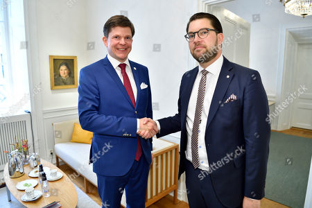 Swedish Speaker of Parliament Andreas Norlen (L) meets with Sweden Democrats (SD) party leader Jimmie Akesson at the Parliament in Stockholm, Sweden, 27 September 2018. All party leaders will meet with the Speaker of Parliament who will then decide who to nominate for Prime Minister. No party got enough votes in the 09 September elections to form a majority government. Sweden's prime minister Stefan Lofven lost a no-confidence vote in parliament on 25 September.