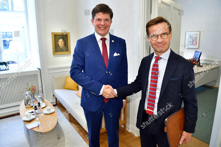 Swedish Speaker of Parliament Andreas Norlen (L) meets with Moderate party leader Ulf Kristersson at the Parliament in Stockholm, Sweden, 27 September 2018. All party leaders will meet with the Speaker of Parliament who will then decide who to nominate for Prime Minister. No party got enough votes in the 09 September elections to form a majority government. Sweden's prime minister Stefan Lofven lost a no-confidence vote in parliament on 25 September.