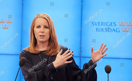 Swedish Centre Party leader Annie Loof speaks at a news conference after meeting with the Speaker of Parliament in Stockholm, Sweden, 27 September 2018. All party leaders will meet with the Speaker of Parliament who will then decide who to nominate for Prime Minister. No party got enough votes in the 09 September elections to form a majority government. Sweden's prime minister Stefan Lofven lost a no-confidence vote in parliament on 25 September.