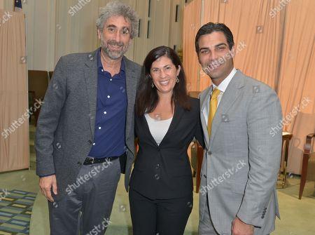 Mitchell Kaplan, Rabbi Judith Lazarus Siegal and Mayor of the City of Miami Francis X. Suarez