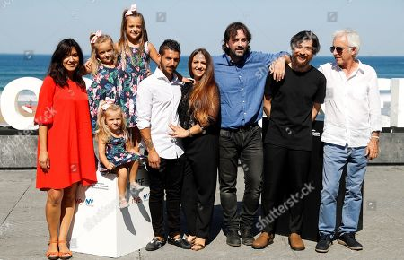 Film director Isaki Lacuesta (3-R) and actors/cast members Israel Gomez (5-R) and Rocio Rendon (4-R), screenwriter Isabel Campo (L), and musicians Raul Refree (2-R) and Kiko Veneno (R) pose during the photocall of 'Entre dos aguas' at the San Sebastian International Film Festival, in San Sebastian, Basque Country, Spain, 27 September 2018. The 66th edition of the SSIFF runs from 21 to 29 September.