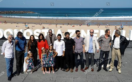 Film director Isaki Lacuesta (2-L), and actors/cast members Israel Gomez (6-R) and Rocio Rendon (3-L), and musicians Raul Refree (5-R) and Kiko Veneno (L) pose during the photocall of 'Entre dos aguas' at the San Sebastian International Film Festival, in San Sebastian, Basque Country, Spain, 27 September 2018. The 66th edition of the SSIFF runs from 21 to 29 September.