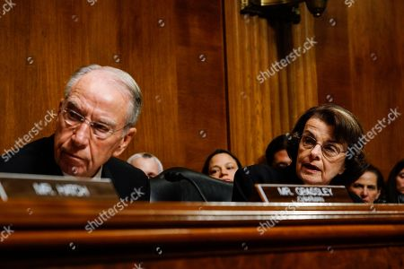 Senate Judiciary Committee Chairman Sen. Chuck Grassley, R-Iowa, and Sen. Dianne Feinstein, D-Calif., ranking member, at a Senate Judiciary Committee hearing with Judge Brett M. Kavanaugh, on Capitol Hill in Washington