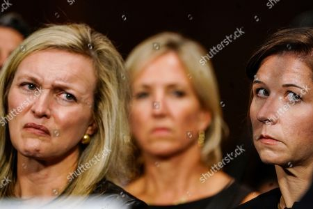 Ashley Estes Kavanaugh, right, and Laura Cox Kaplan, left, at a Senate Judiciary Committee hearing on on Capitol Hill in Washington