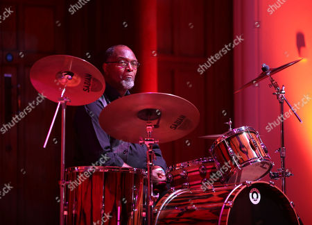 Sam Kelly playing drums at the London International Boogie Woogie Festival