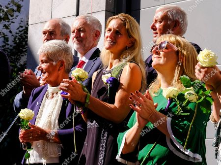 British Labour Party leader Jeremy Corbyn (3-L) late Jo Cox's sister Kim Leadbeater (C) and family members attend a ceremony to the name a square after her, in Brussels, Belgium, 27 September 2018. British Labour politician Jo Cox was killed on 16 June 2016 by a right-wing extremist in Birstall, West Yorkshire.