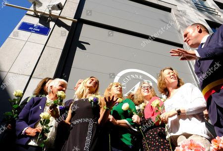 Late Jo Cox's sister Kim Leadbeater (C) and family members attend a ceremony to the name a square after her, in Brussels, Belgium, 27 September 2018. British Labour politician Jo Cox was killed on 16 June 2016 by a right-wing extremist in Birstall, West Yorkshire.