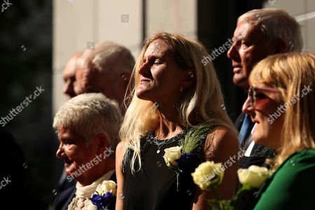 Kim Leadbeater, Gordon Leatdbeater, Jean Leatdbeater. Kim Leadbeater, center, the sister of Britain's lawmaker Jo Cox, listens to songs next to her parents Jean, left, and Gordon, rear right, during the official inauguration of Jo Cox Square in the centre of Brussels, . The Labour Party lawmaker had spent several years in Brussels before working at the British parliament. She was opposed to Brexit and was killed by a far-right extremist now serving a life sentence for murder