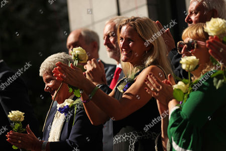 Kim Leadbeater, Gordon Leatdbeater, Jean Leatdbeater, Jeremy Corbyn. Kim Leadbeater, center, the sister of Britain's lawmaker Jo Cox, applauds with her parents Jean, left, and Gordon top right, and British Labour Party leader Jeremy Corbyn, center left, during the official inauguration of Jo Cox Square in the centre of Brussels, . The Labour Party lawmaker had spent several years in Brussels before working at the British parliament. She was opposed to Brexit and was killed by a far-right extremist now serving a life sentence for murder