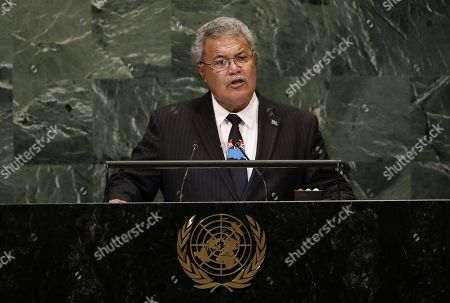 Prime Minister of Tuvalu Enele Sosene Sopoaga speaks during the General Debate of the General Assembly of the United Nations at United Nations Headquarters in New York, New York, USA, 27 September 2018. The General Debate of the 73rd session will run from 25 September 2018 to 01 October 2018