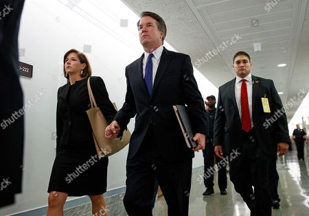 Brett Kavanaugh, Ashley Estes Kavanaugh. Brett Kavanaugh, President Donald Trump's Supreme Court nominee, and his wife Ashley Estes Kavanaugh, hold hands as they arrive for a Senate Judiciary Committee hearing on Capitol Hill in Washington