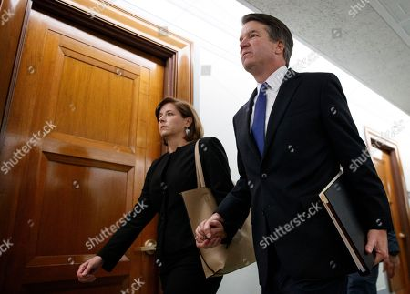 Brett Kavanaugh, Ashley Estes Kavanaugh. Brett Kavanaugh, President Donald Trump's Supreme Court nominee, and his wife Ashley Kavanaugh, hold hands as they arrive for a Senate Judiciary Committee hearing on Capitol Hill in Washington