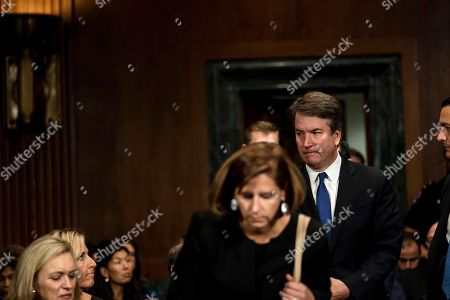 Brett Kavanaugh (R) arrives with his wife Ashley Estes Kavanaugh (C) during the Senate Judiciary Committee hearing on the nomination of Brett Kavanaugh to be an associate justice of the Supreme Court of the United States, on Capitol Hill in Washington, DC, USA, 27 September 2018. US President Donald J. Trump's nominee to be a US Supreme Court associate justice Brett Kavanaugh is in a tumultuous confirmation process as multiple women have accused Kavanaugh of sexual misconduct.