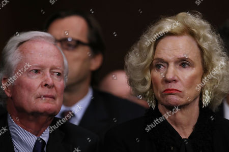 Judge Brett Kavanaugh's parents, Everett Edward Kavanaugh Jr. and Martha Kavanaugh, listen to their son testify before the Senate Judiciary Committee during his Supreme Court confirmation hearing in the Dirksen Senate Office Building on Capitol Hill.