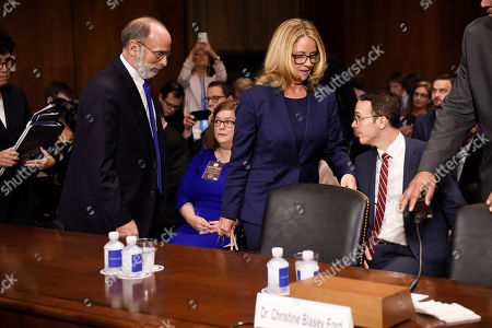 Christine Blasey Ford (R) arrives with her Counsel Michael R Bromwich